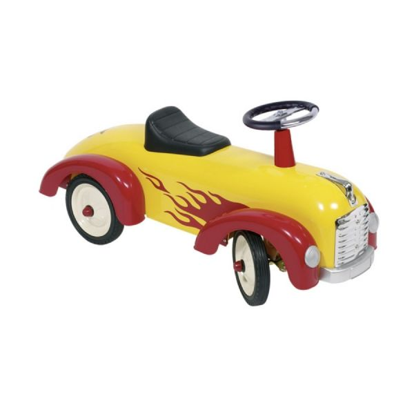 Goki Childrens Kids Ride On Metal Car With Flame Decals And Rubber Tyres